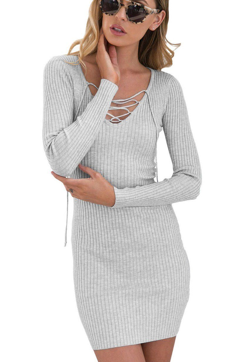 921bf2b557f Robe Pull Tricot Cotes Gris Col V Manches Longues Lacets Pas Cher www. modebuy.com  Modebuy  Modebuy  Gris