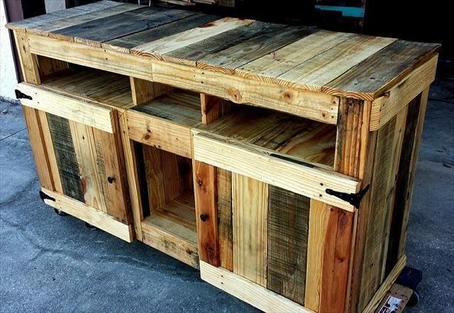 Diy Pallet Wooden Tv Stand Media Cabinet Muebles