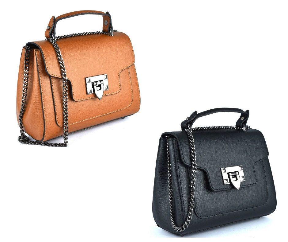 BORSETTA 18 CUOIO NERO Vera Pelle Mini Bag Borsa Mano Spalla Tracolla Moda  Donna c6847f6f42d