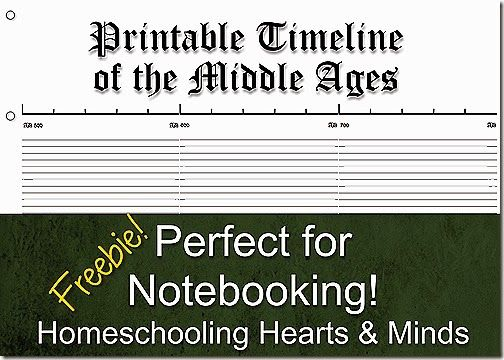 Free Printable Notebook Timeline For The Middle Ages  Middle