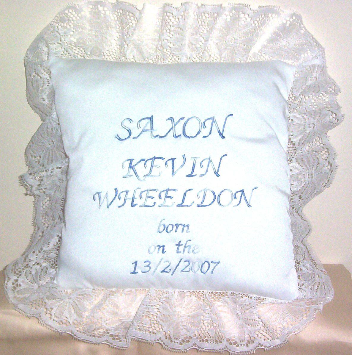 Saxon's back of birth cushion