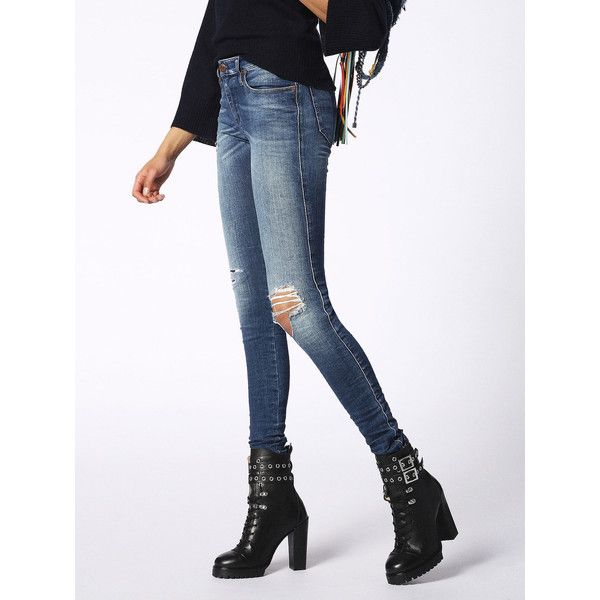 Diesel SKINZEE 084KD Super Skinny ($298) ? liked on Polyvore featuring jeans,  blue