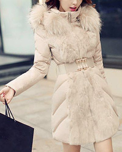 Chic Hooded Long Sleeve Faux Fur Belted Thick Coat For Women (BEIGE,2XL) | Sammydress.com