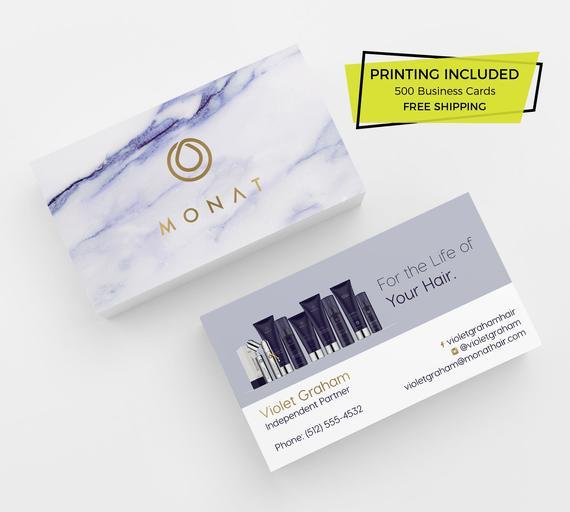 Monat Business Card Design 500 Business Cards Printed Template Etsy Printing Business Cards Business Card Design Salon Business Cards
