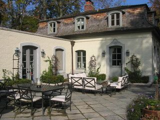 Traditional Patio Mansard Roof House Roof Lake House Patio