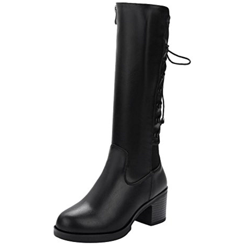 Women's Lace-Up Zip Comfort Mid Heel Riding Mid-Calf Boots