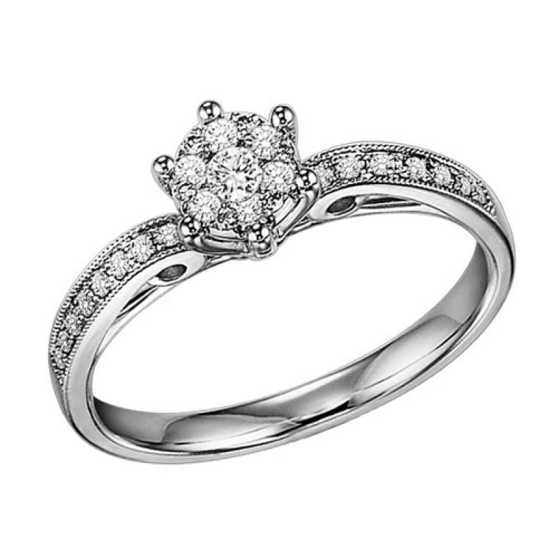 .25cttw round cluster diamond engagement ring