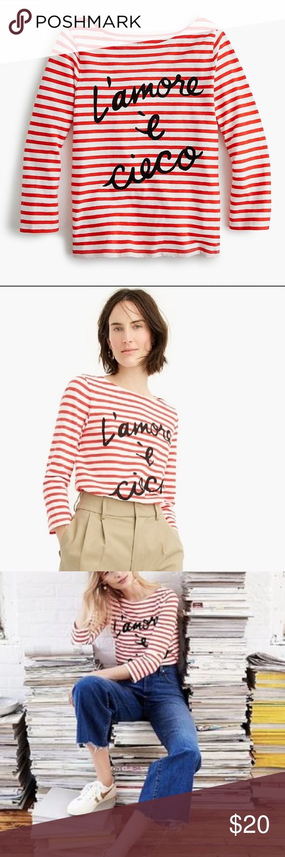 """J. Crew """"L'amore è cieco"""" Striped Boatneck T-Shirt This supercute striped T-shirt in an iconic sailor style with a boatneck silhouette. Plus, it's printed with a timeless expression (l'amore è cieco means """"love is blind"""" in Italian) to add a little romance to your everyday. This item is in excellent condition, with no signs of wear.  Size M. 100% Cotton. Machine wash. J. Crew Tops"""