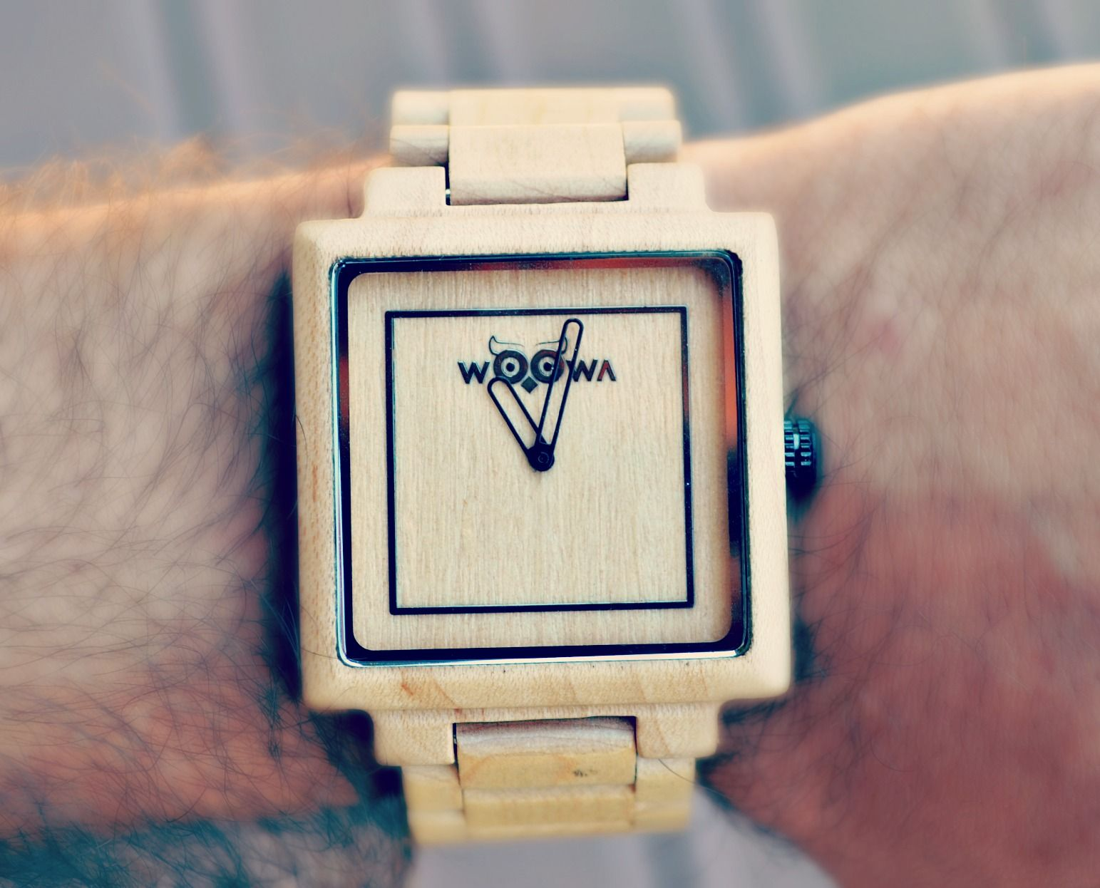 Wood watches on hand