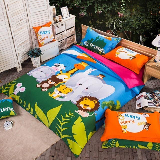 linge de lit zoo Animaux de bande dessinée Lion Tigre Éléphant Girafe Lapin Zoo  linge de lit zoo
