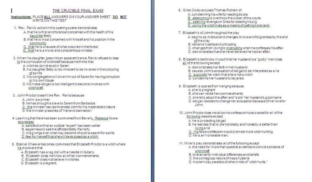 crucible exam