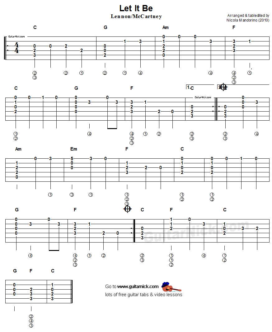 Let It Be Guitar Sheet Music