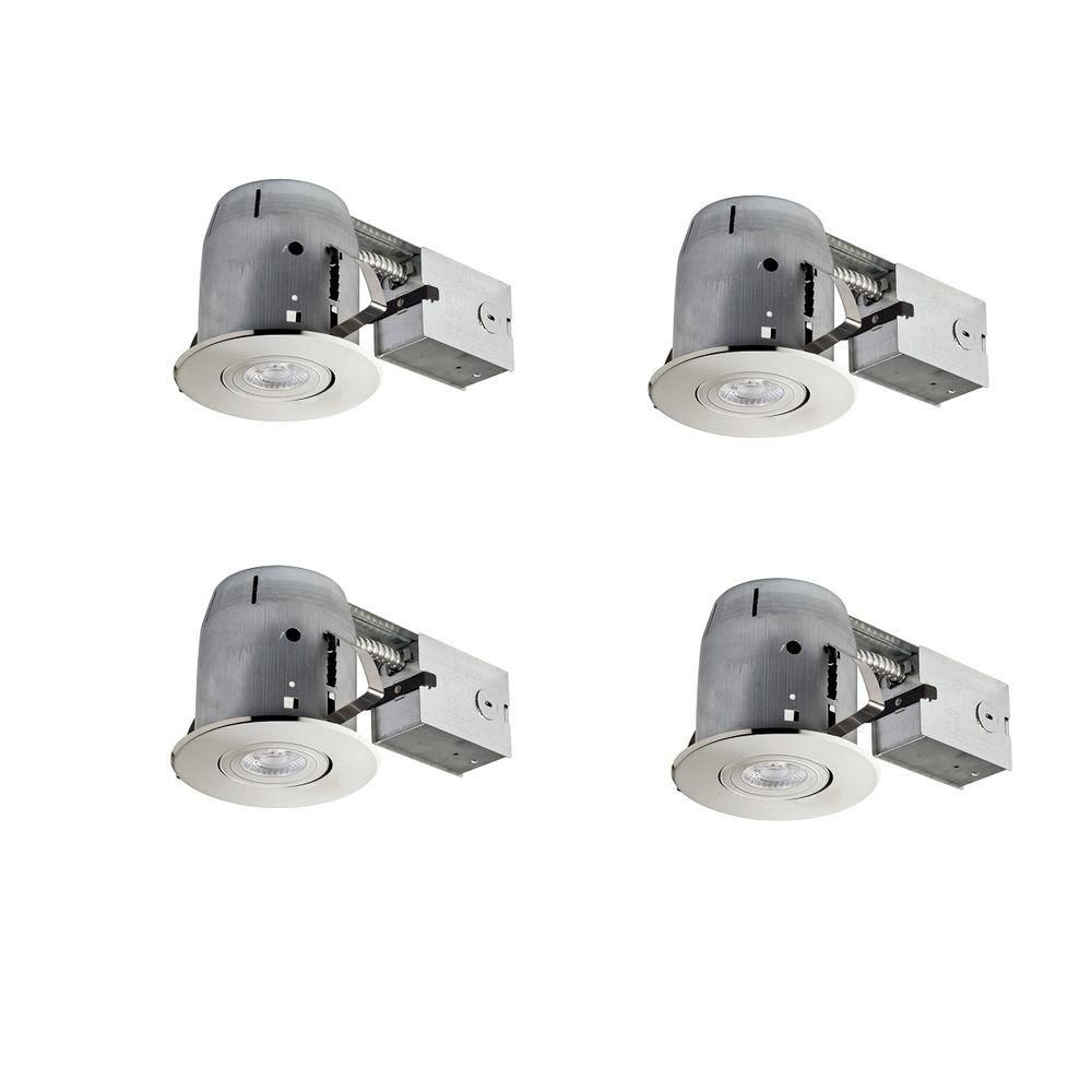 Brushed Nickel Led Ic Rated Swivel Spotlight Trim Recessed Lighting Kit