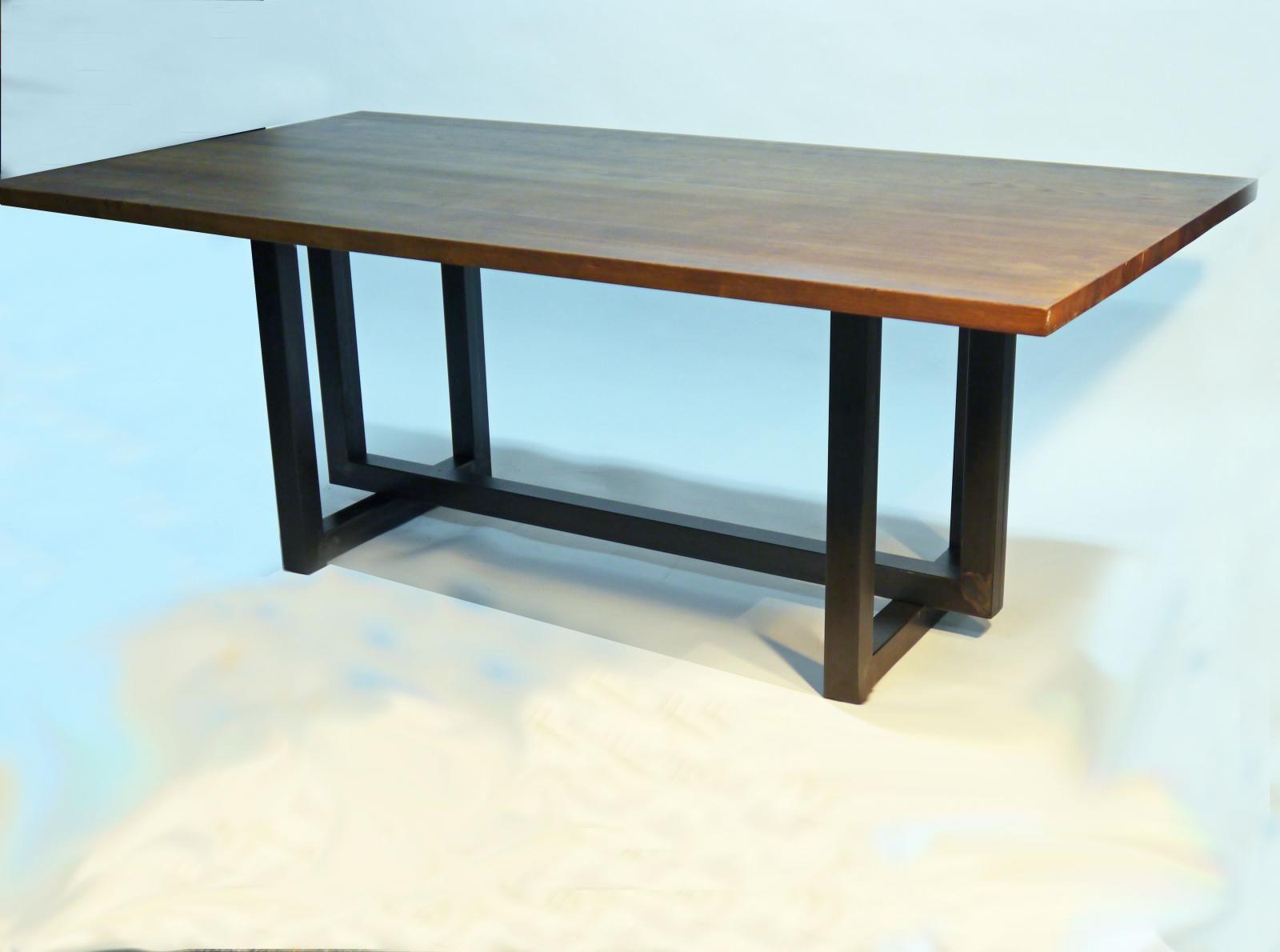 Mesa de comedor manix estilo industrial con sobre de roble for Mesas grandes