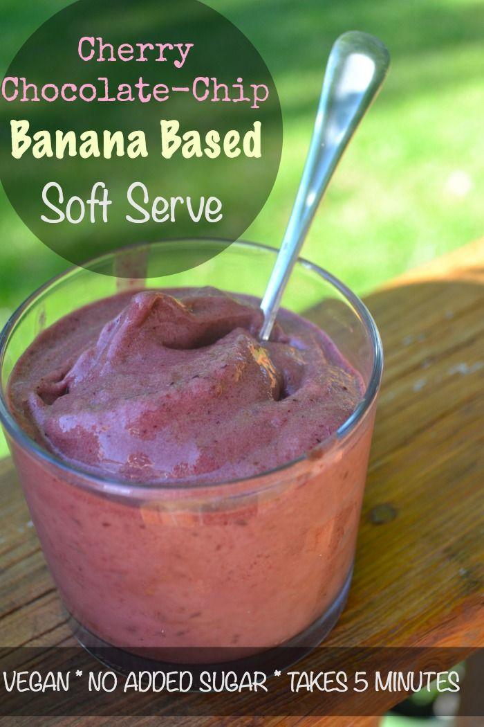 Cherry Chocolate Chip Banana Based Soft Serve {Vegan, No Added Sugar, Ready in 5 mins}