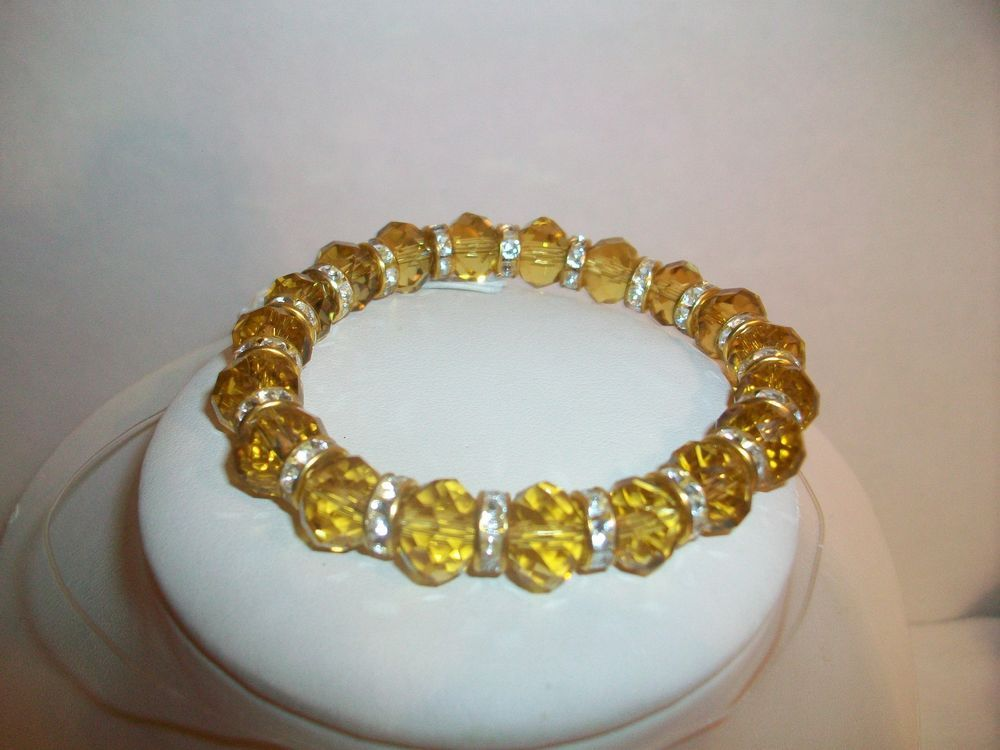 Bracelet Gold Crystals Rhinestone Spacers Cuff NEW #Cuff