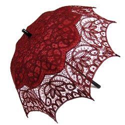 Battenburg Lace Parasol - Wine Red, Wood Handle