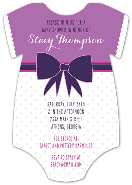 Purple Patterns Onesie Baby Shower Invitations For Girls At Polka