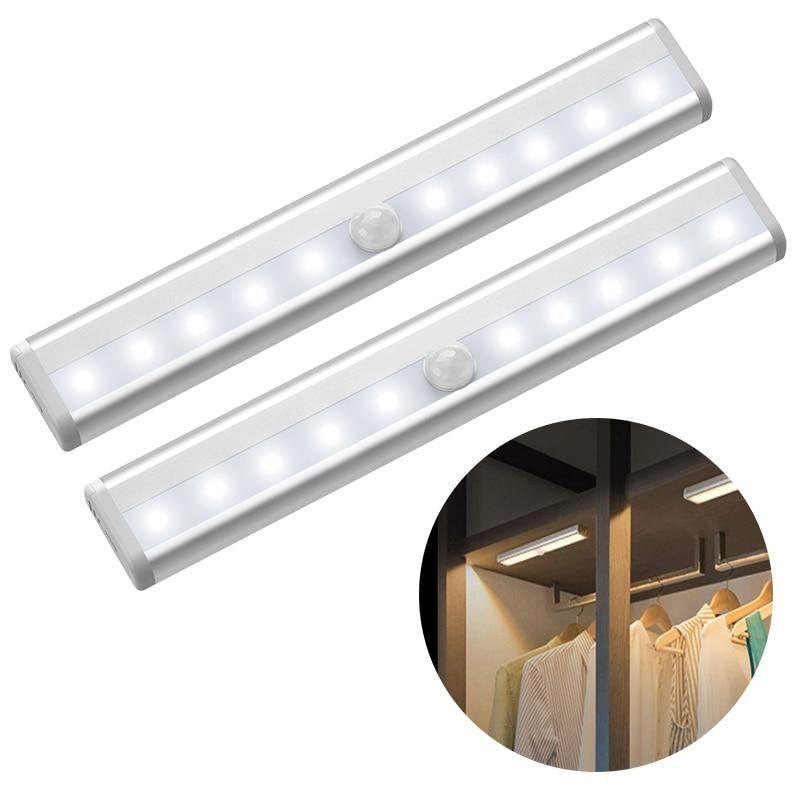 Linkax 10 Led Motion Pir Sensor Light Automatic Light Sensing Night Light Battery Powered Ward In 2020 Led Closet Light Motion Sensor Lights Motion Sensor Closet Light