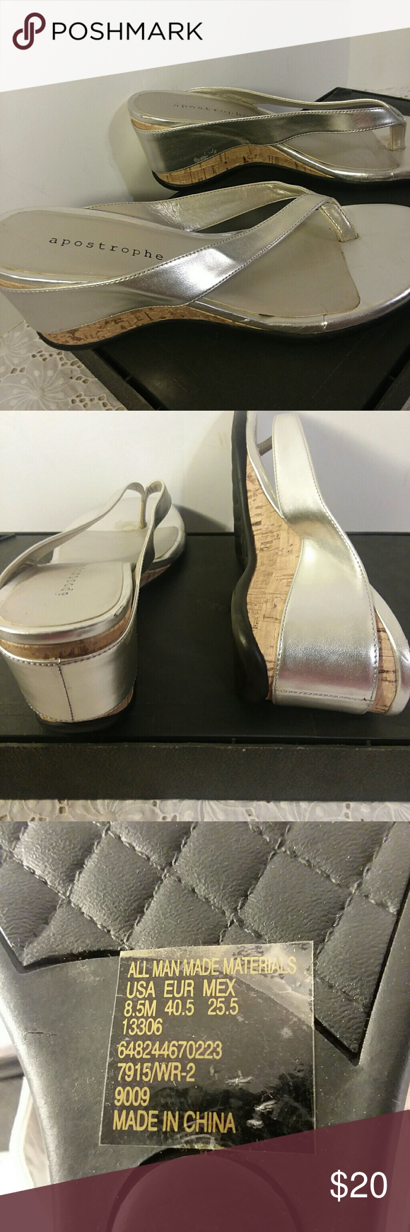 Apostrophe Wedge Sandals Silver flip flop style low wedge slip one. Can be casual or dressy casual. Comfortable, cute great condition. apostrophe Other #lowwedgesandals Apostrophe Wedge Sandals Silver flip flop style low wedge slip one. Can be casual or dressy casual. Comfortable, cute great condition. apostrophe Other #lowwedgesandals