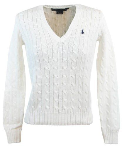 Ralph Lauren Sport Womens Cable Knit V-Neck Polo Pony Logo Sweater - XL -  White Ralph Lauren,http://www.amazon.com/dp/B009AXA0EE/ref\u003d ...