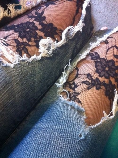 Lace tights underneath ripped jeans.