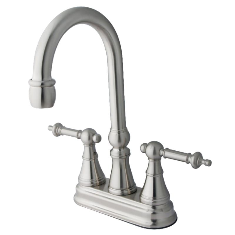 Kingston Brass KS2498TL Brushed Nickel Tuscany Deck Mounted Double Handle Bar Faucet with Metal Handles