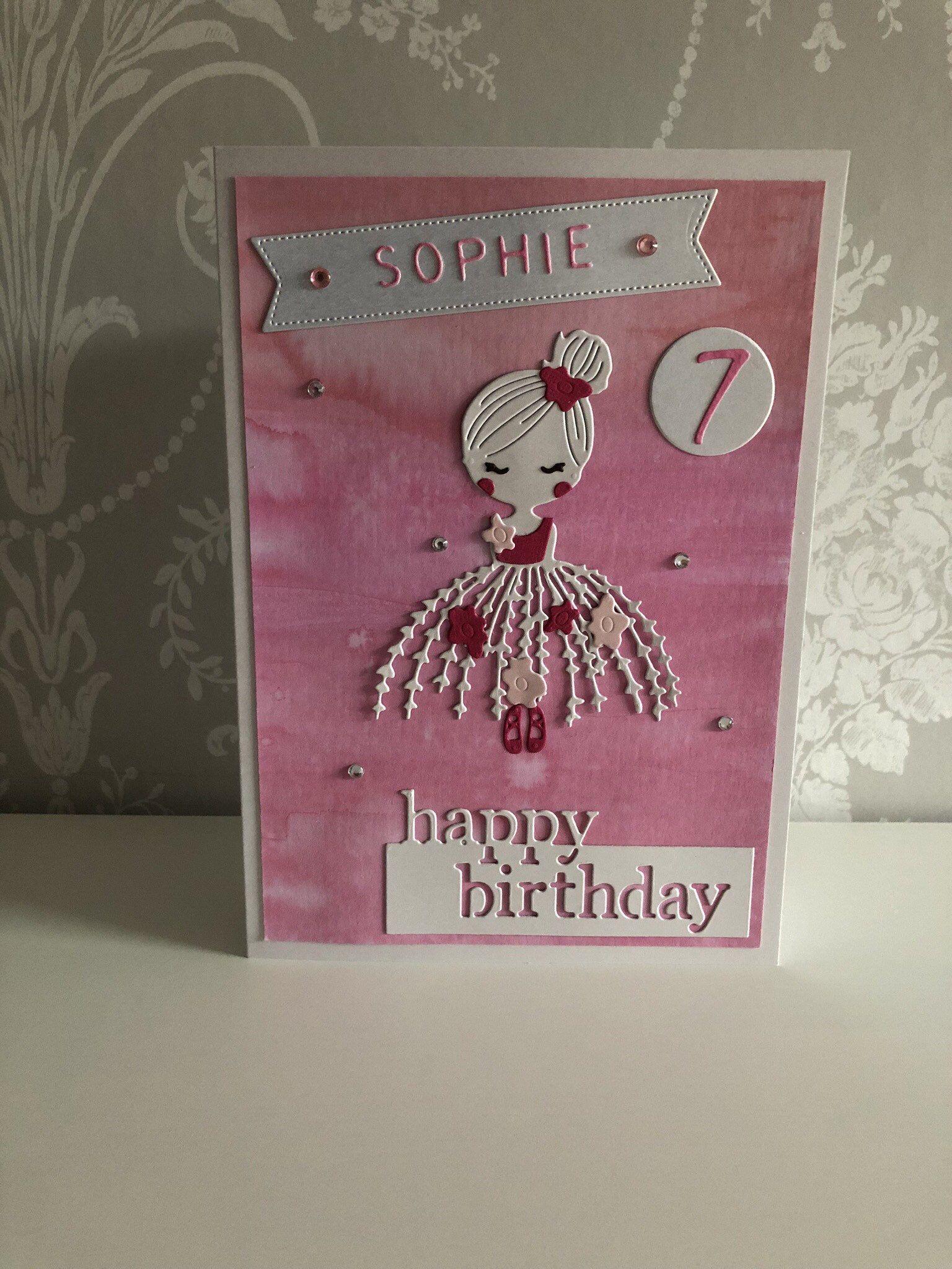 Ballerina Birthday Card Personalised Handcrafted Age Hand Etsy Birthday Cards Greeting Cards Handmade Cards Handmade