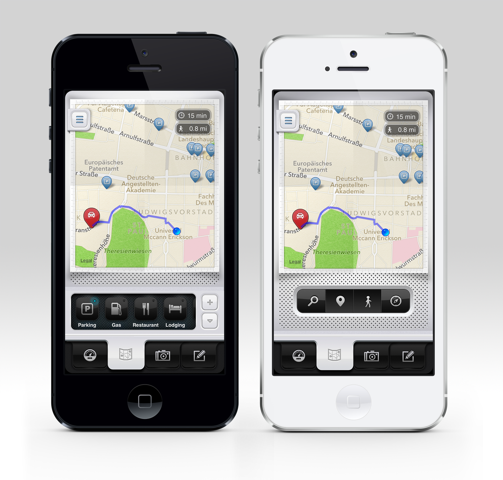 Parkbud for iPhone - Map Screen iPhone 5 App Design & UI, Parking ...