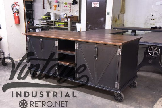Vintage industrial kitchen island antique cart utility for Ilot cuisine industriel