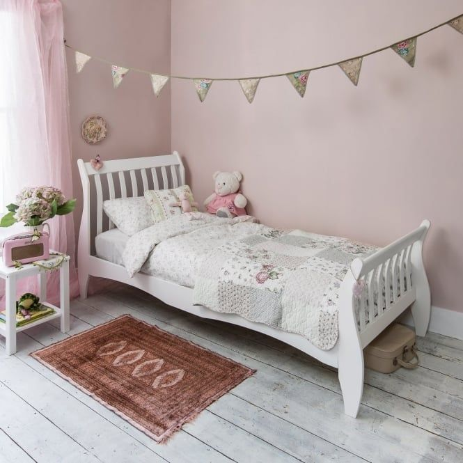 Single Bed Sleigh Frame Astrid In White With Images White