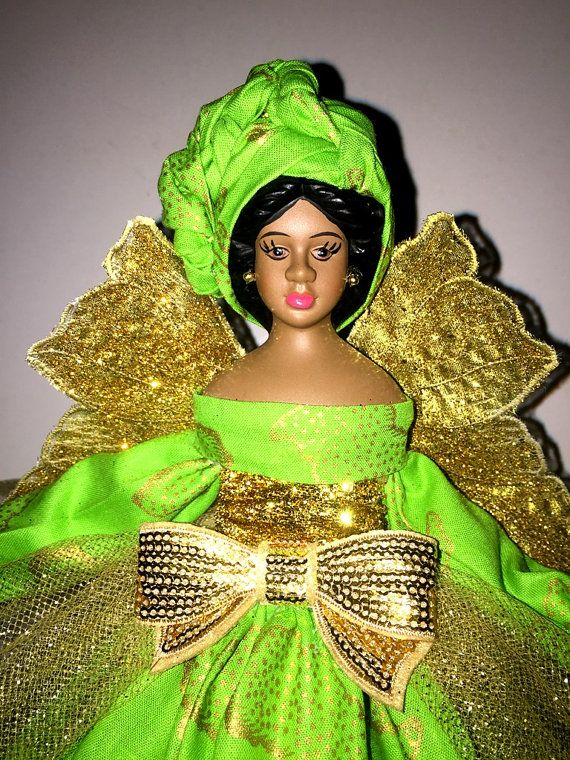 African American Angel Tree Topper Black Doll by