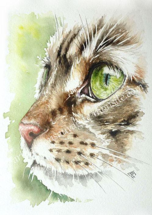 Profil de chat peinture en 2019 aquarelle chat aquarelle et dessin aquarelle - Profil dessin ...