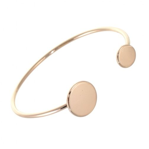 Simple Costume Jewellery: Rose Gold Open Cuff Bangle with Flat Asymmetric Circle Design