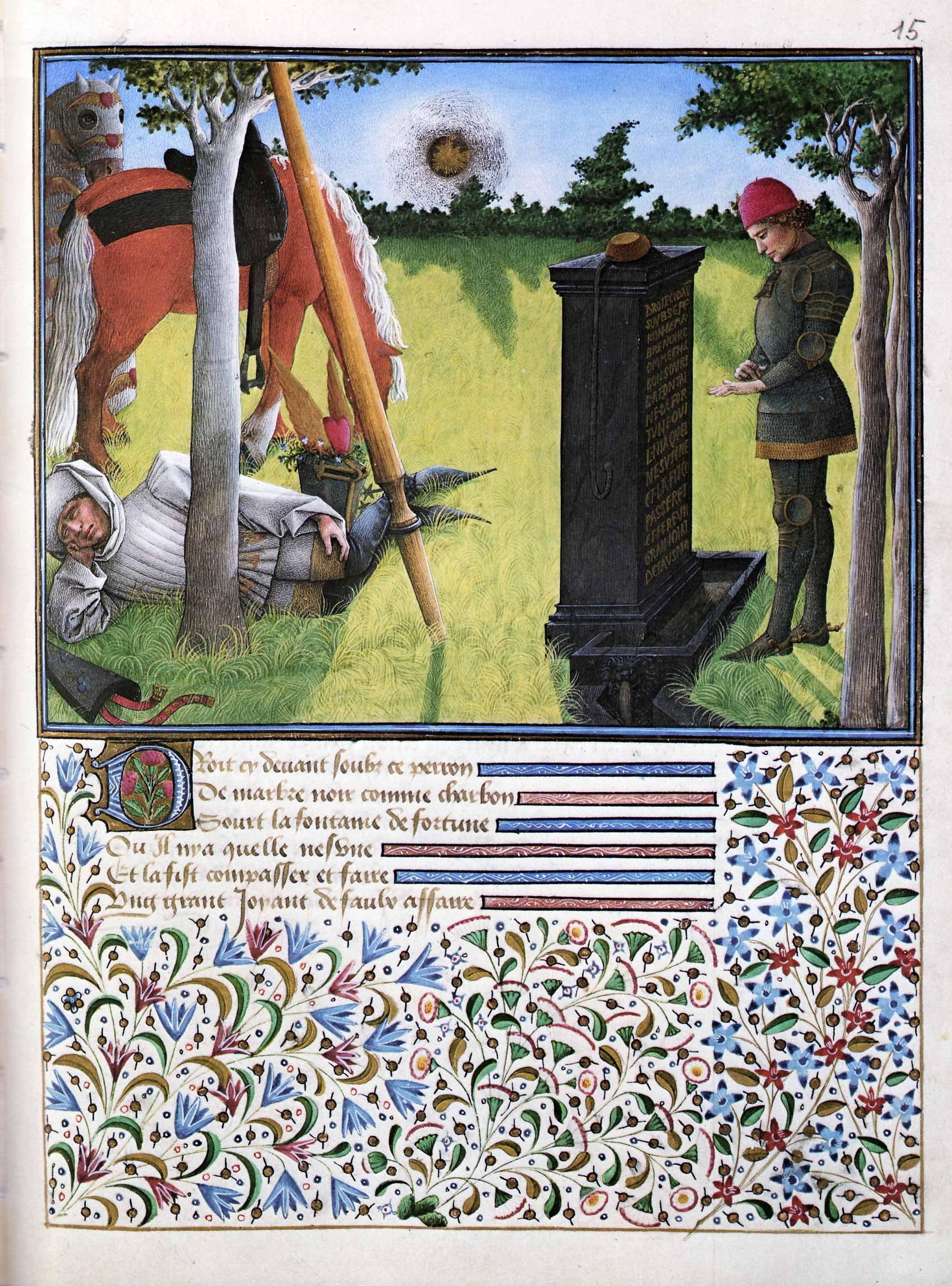 Barthelemy D Eyck Cœur Lit L Insription De La Fontaine Livre Du Cœur D Amour Epris 1457 72 Osterreichische Nationalbiblioth Art Medieval Art Book Of Hours