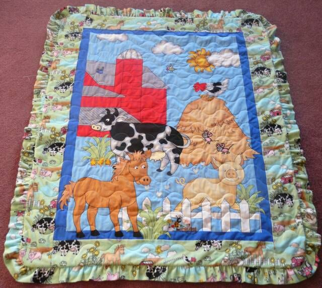 Http bquiltingandfabric baby girl embroidered farm