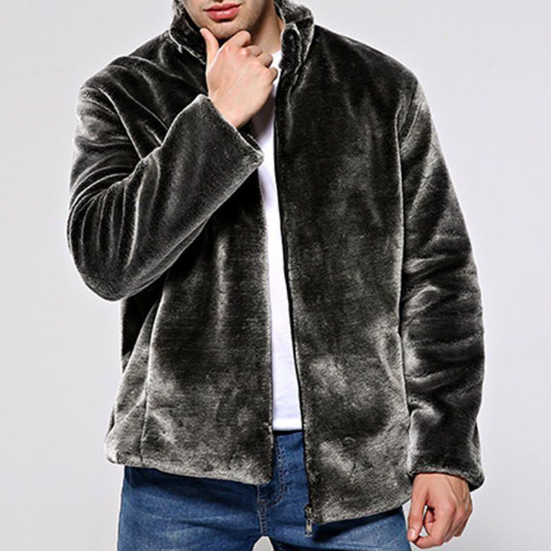 14a88c9b5a4 Mens Faux Fur Coat Winter Warm Stand Collar Trendy Jacket Winter Fur Coats, Slim  Fit