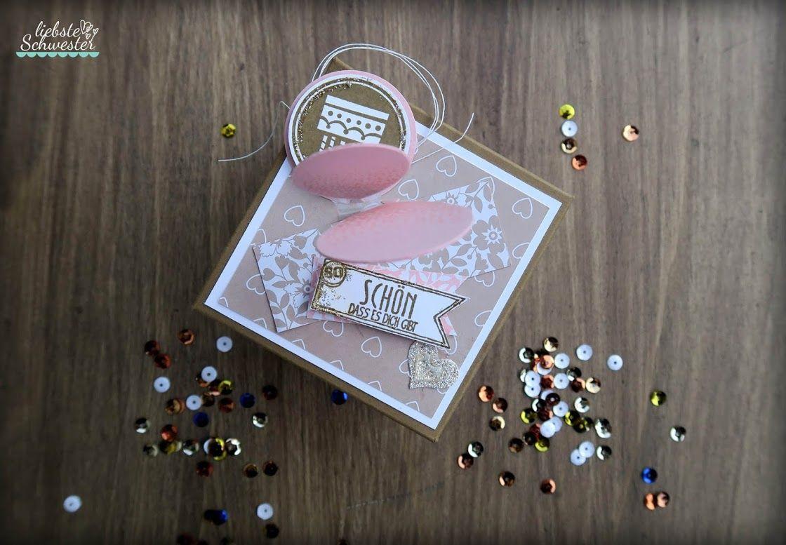 Geburtstags - Explosionsbox in gold und rosa #kinogutscheinbasteln