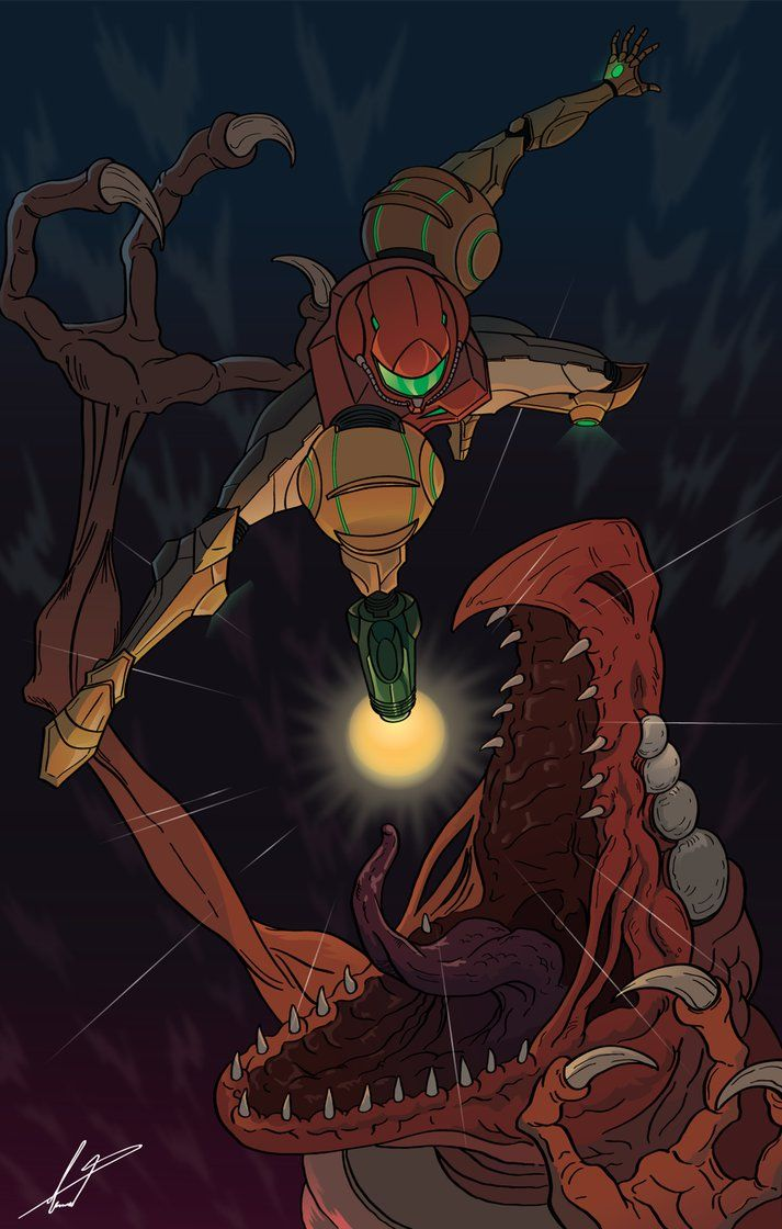 Metroid Samus Aran In The Varia Suit Versus Ridley
