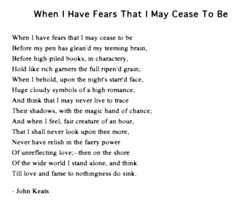 "Reaping Poetry: An Analysis of ""When I have fears that I may cease to be"" by John Keats"