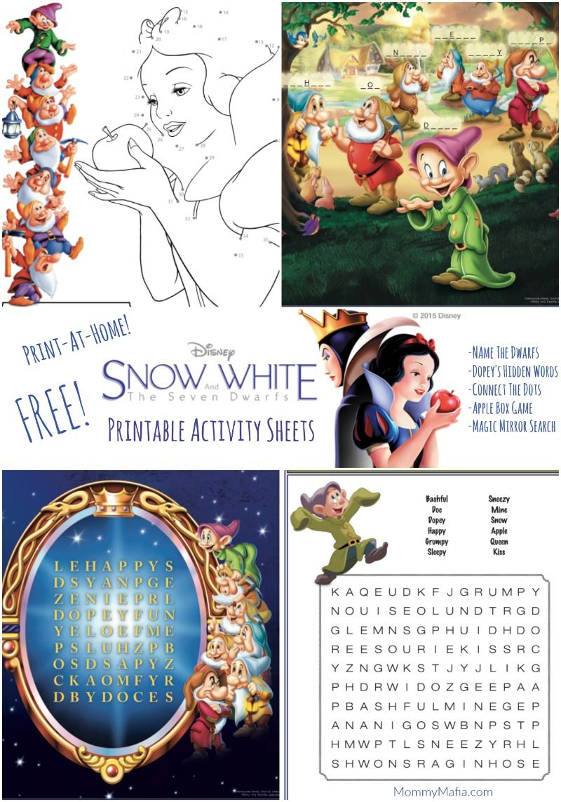 Free Snow White Printables Activity Pages Games And More Snow