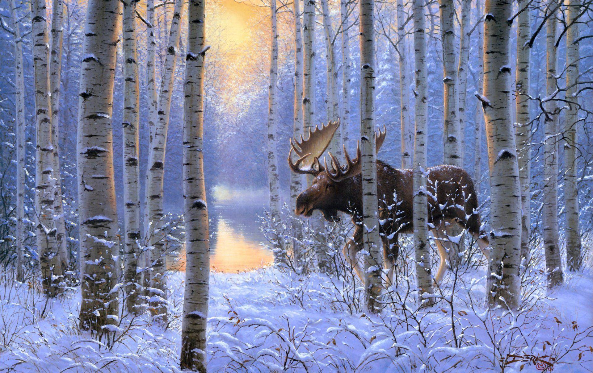 Derk Hansen On The Move Painting Winter Snow Animals Forest Moose Moose Painting Snow Animals Wildlife Artists