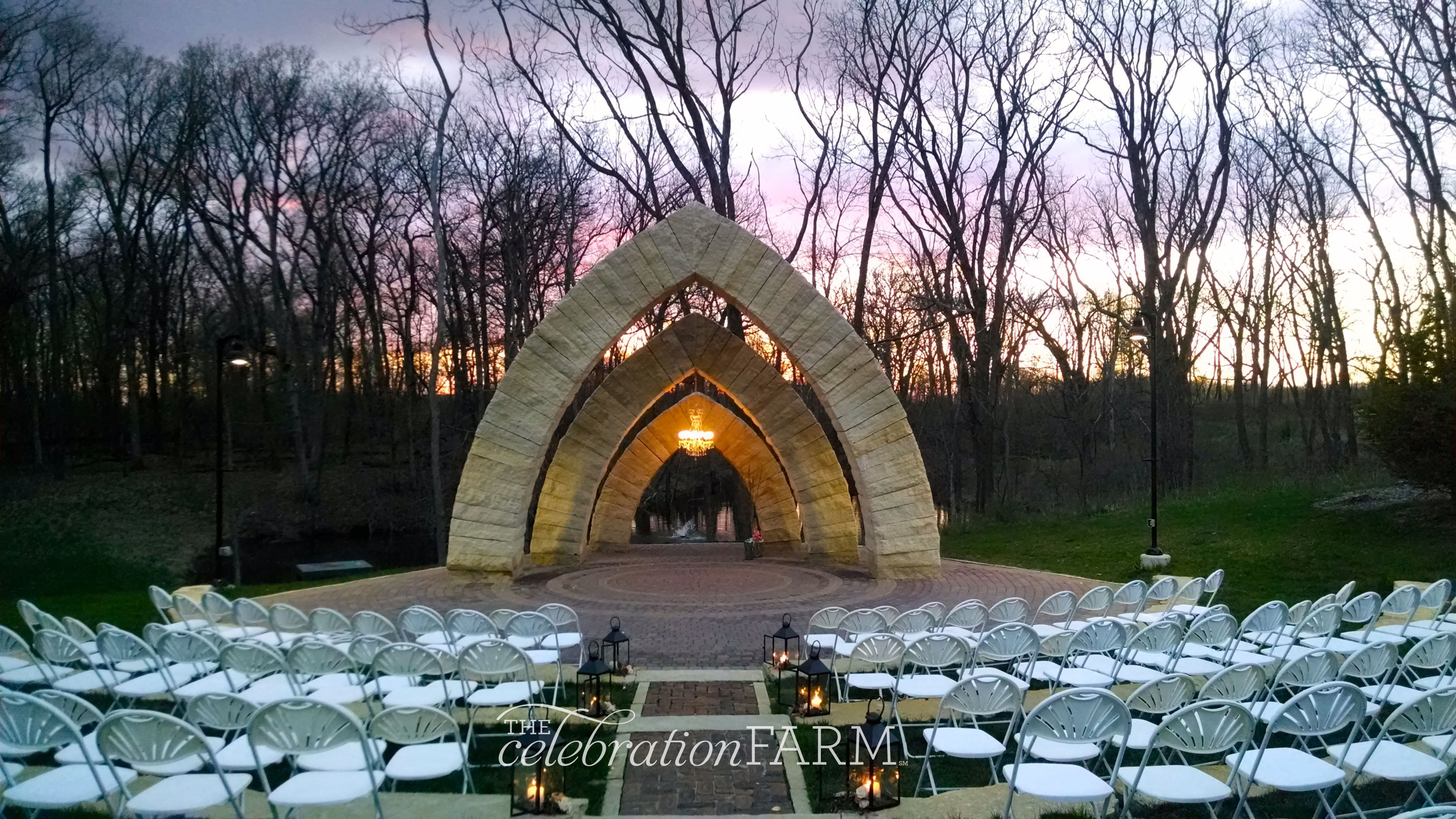 #Lanterns light the way to the #outdooramphitheater at #sunset at @celebrationfarm. #thecelebrationfarm  What a beautiful space to #exchangevows! #iowawedding #iowacity #wedding #diywedding #outdoorwedding #celebrationfarm