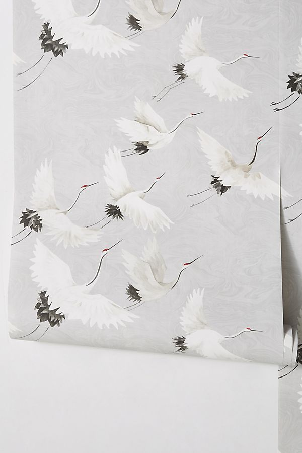 Windsong Crane Wallpaper by Anthropologie in Blue, Wall