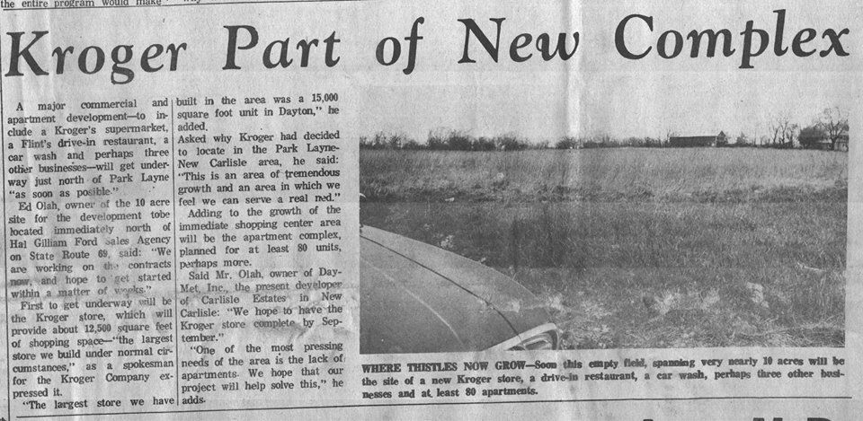 Vintage 1969 New Carlisle Sun newspaper article about the