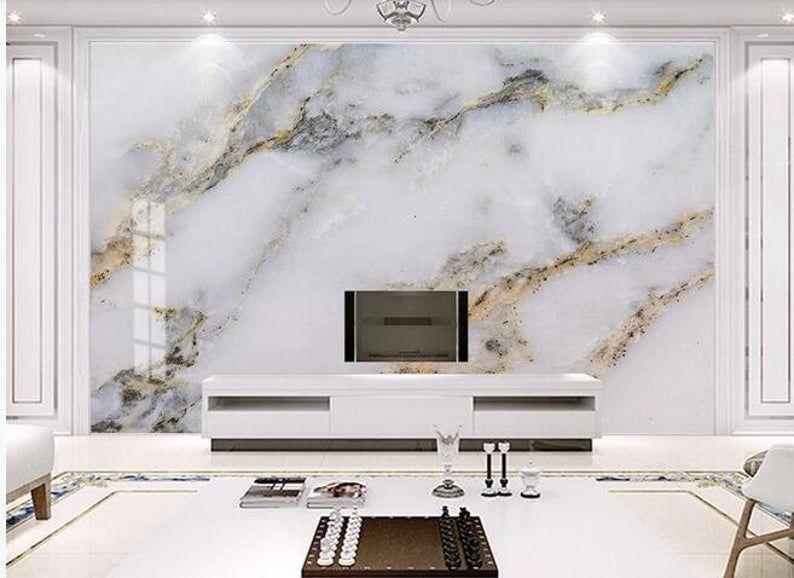 Photo Wallpaper Modern Simple Golden Luxury Murals Marble Wall Painting Living Room Tv Bedroom Home Decor Wall Covering In 2021 Wall Painting Living Room Marble Wall Living Room Paint