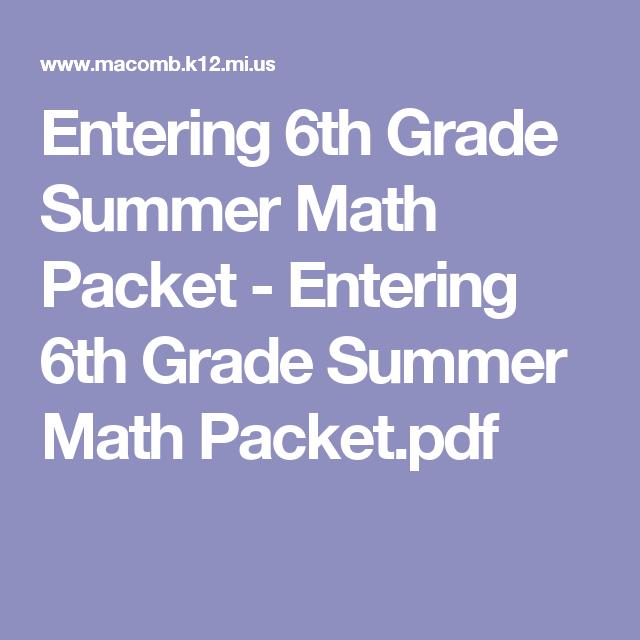 Entering 6th Grade Summer Math Packet - Entering 6th Grade