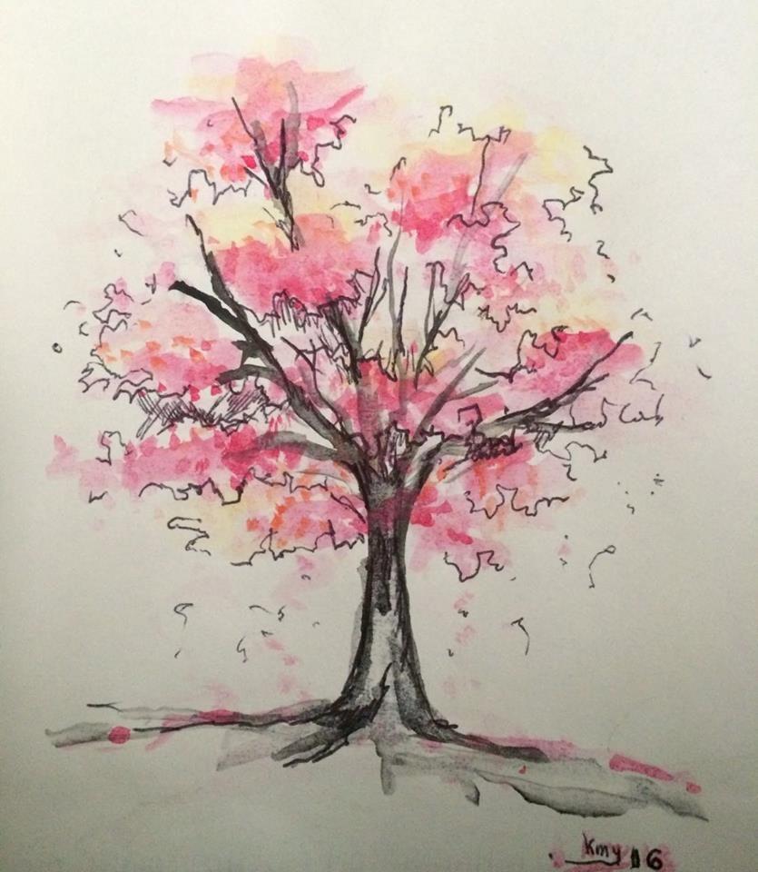Dibujo En Acuarela Arbol Sakura Camiconcas Con Imagenes