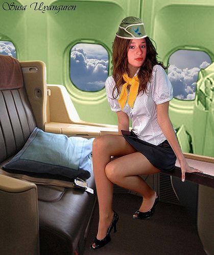girls on airplane flashing Asian