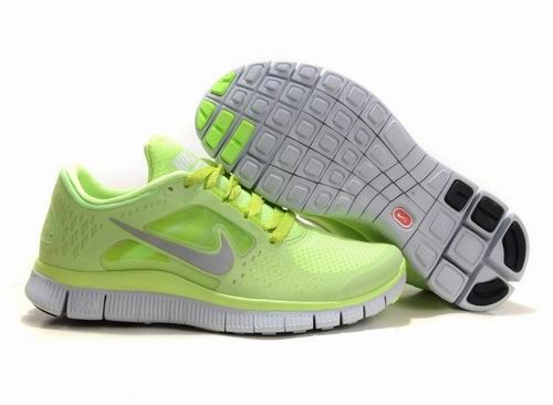 Nike Free Run +3 Fluorescent Green Silvery White Womens Running Shoes! Only  $49.9USD